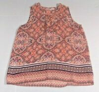 Violet and Claire Women's Top Size S Multicolor Geo Print Sleeveless Henley Neck