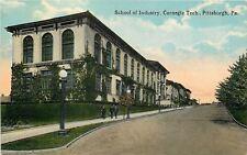 Pittsburg Pennsylvania~Shool of Industry~Carnegie Tech~Men Descend Hill~1910 Car