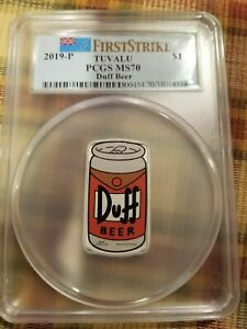 2019-P $1 Tuvalu Simpsons Duff Beer 1 oz Silver Coin PCGS MS70 + COA + Box #125