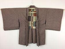 Silk crepe authentic Japanese purple haori jacket for Kimono, with himo (I970)