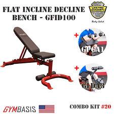 2017 NEW - BodySolid FID Bench GFID100 + Biceps Curl GPCA1 & Leg Developer GLDA3