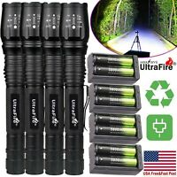 350000Lumens Tactical 5 ModesT6 Zoomable Focus 18650 LED Flashlight Torch Light