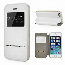 Shockproof Flip PU Leather Cover Window View Stand Case+Tempered Glass Protector