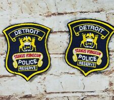 2 Vtg Original Detroit Michigan DPD Police Reserve Embroidered Iron-On Patches