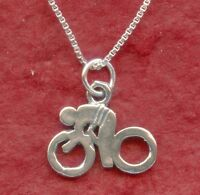 Bike Necklace Sterling Silver Solid 925 Charm Pendant and Chain bicycle jewelry