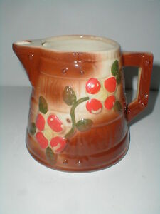 American Bisque Pottery BUTTER CHURN Red Flower Pitcher Teapot - No Lid
