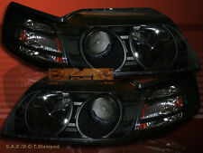 1999-2004 MUSTANG BLACK PROJECTOR HEADLIGHTS PAIR W/AMBER REFLECTOR 00 01 02 03