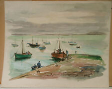 """Tableau Peinture Aquarelle PIERRE ABADIE LANDEL """"Port de Douarnenez"""" 1963 PAL9"""