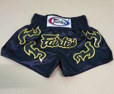 FAIRTEX SHORTS MUAY THAI KICK BOXING GENUINE FIGHT MMA S BLACK GOLD SATIN