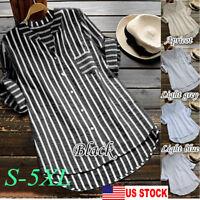 USA Retro Women Long Sleeve Shirt Casual Loose Baggy Tunic Tops T-Shirt Blouse
