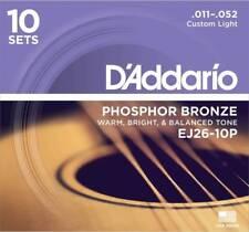 D'Addario EJ26-10P Box of 10 Phosphor Bronze 011-.052 Acoustic Guitar Strings