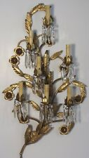 Vintage Large Mid Century Italian Gilt Tole 7 Light Wall Sconce with Prisms