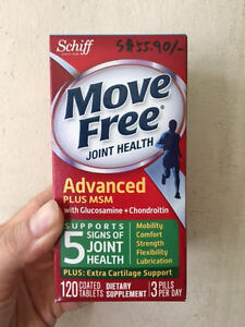 SCHIFF MoveFree Advanced PLUS MSM+Glucosamine+Chondroitin(120 Tablets) EXP 12/20