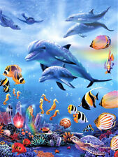 Full Drill Dolphin Fish 5D Diamond Painting Cross Stitch Embroidery Crafts Decor