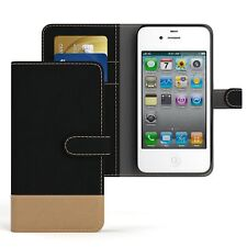 Tasche für Apple iPhone 4 / 4S Jeans Cover Handy Schutz Hülle Case Schwarz