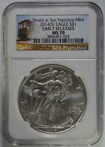 2014-S $1 American Silver Eagle NGC MS 70 Early Release Struck at SF Mint