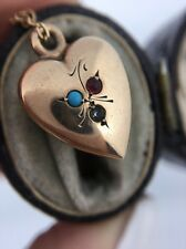 Antique Victorian Turquoise Gem Set Heart Pendant On Chain Necklace Yellow Gold