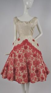 VINTAGE 1950'S SILK TAFFETA & RED CHANTILLY LACE PARTY DRESS