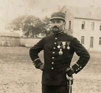 OFFICER MEDAL RECIPIENT WW1 NICE IMAGE MOUSTACHE RPPC ANTIQUE PHOTO POSTCARD