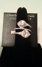New Charlotte Daniel Sterling Silver Wrap Ring 2 Large Pear Clear Stones Size 7