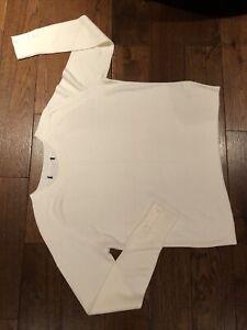 M&S Ladies Jumper Size 14 Cream Crew Neck Long Sleeve