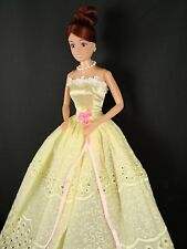 Yellow Gown Made with Eyelet Lace Made to Fit Barbie Doll