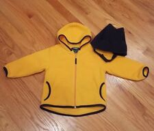 LL BEAN Golden Yellow Hooded Fleece Jacket Unisex Size 3T w Bonus Fleece Hat EUC