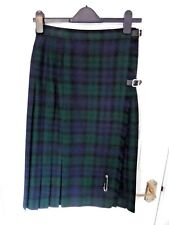 ❤ Vintage ST MICHAEL Size 12 Navy Blue Green Wrap Tartan Style Skirt 100% Wool