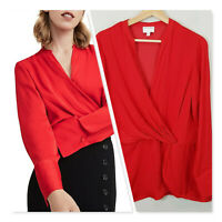 [ WITCHERY ] Womens Red Long Sleeve Wrap Top  | Size AU 12 or US 8