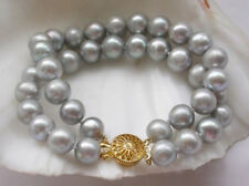 "Natural 8-9mm South Sea Genuine Gray Pearls Bracelet  7.5-8"" 14k Gold Clasp"