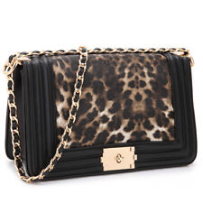 New Women Handbag Faux Leather Crossbody Bag Purse w/ Intertwined Chain Straps