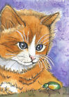 ACEO Limited Edition - Ginger Kitten and Bug print of Original watercolor