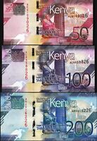 Kenya 3 Pcs SET, 50 100 200 Shillings 2019, UNC, P-New,