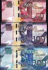 Kenya 3 Pcs SET, 50 100 200 Shillings 2019, UNC, P-New, Last 2 SAME Serial No