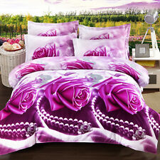 Queen Size Bed Quilt/Doona/Duvet Cover Set Pillow Cases New Purple Rose Bedding