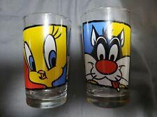 """Vintage Looney Tunes Glass 1994 Warner Bros Sylvester Tweety 4 1/2""""  lot of 2"""