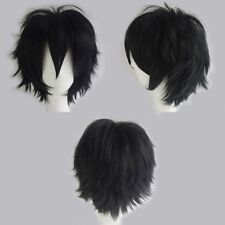 Black White Mix Anime Short Wig Heat Resistant Women Cosplay Costume Full Wigs h