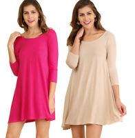 UMGEE Womens Solid Knit Cut Out 3/4 Sleeves Flowy Comfy Trendy Chic Dress S M L