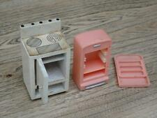 Vintage Dol Toi Wooden Oven Blue Box Plastic Fridge Collectable Dolls House F3