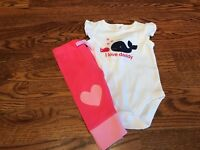 Gymboree Infant Girls' Bodysuit I Love Daddy Whale w/ Pink Heart Knee Patch Pant