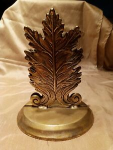 Vintage Brass TIC Leaf Shape Bookends Made In India