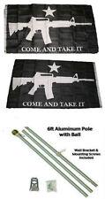 3x5 Black Come & Take It Guns 2ply Flag Aluminum Pole Kit Gold Ball Top 3'x5'