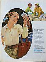 PUBLICITÉ PRESSE 1971 TAMPONS TAMPAX PROTECTION HYGIÈNIQUE PORTÉE INTÉRIEUREMENT