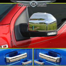 2015-2018 FORD F150 CREW CAB Chrome Door Handle(1Keyhole no SMART)+Mirror COVERS