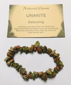 Unakite Gemstone Chip Bracelet with free organza bag and crystal card