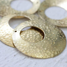 4 Pieces Raw Brass Hammered Curved Circle Pendant - 35.6mm (3973C-M-456)