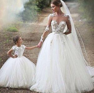 Illusion Lace Appliqué Tulle bridal gown & flower girl set, 3-D flower,all sizes