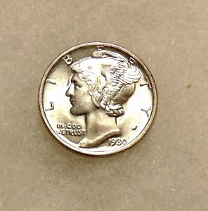 1930-S Mercury Dime - Better Date FB's - Very Pretty BU Coin - FREE SHIPPING