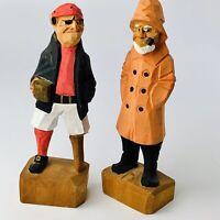 Vintage Hand Carved Nautical Wooden Folk Art Sea Captain & Peg Leg Pirate Figure