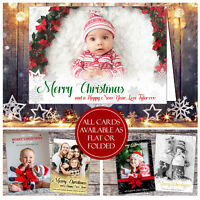 10 Personalised Photo Christmas Thank You Cards Flat Postcard Folded + Envelopes